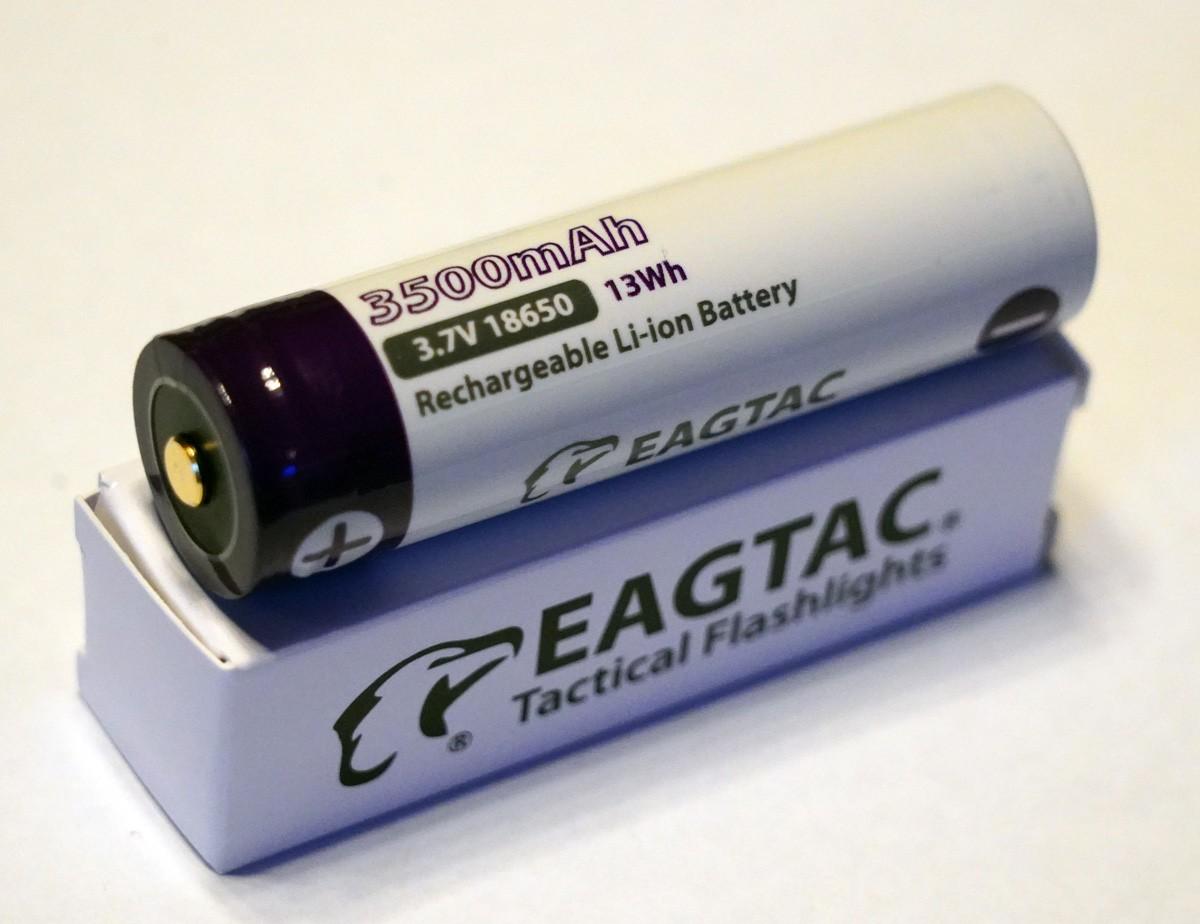 EAGTAC 18650 Lithium Akku, 3500mAh, protected