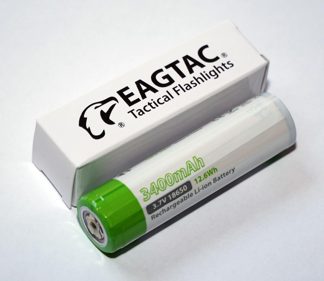 EAGTAC 18650 Lithium Akku, 3400mAh, protected